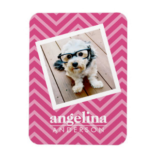 Photo with Hot Pink Chevron Pattern Custom Name Rectangular Photo Magnet