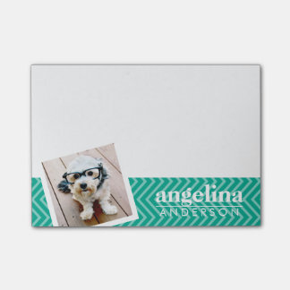 Photo with Modern Chevron Pattern and Custom Name Post-it Notes