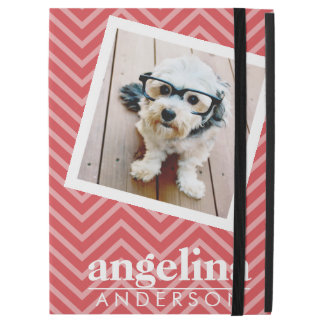 Photo with Red Chevron Pattern Custom Name