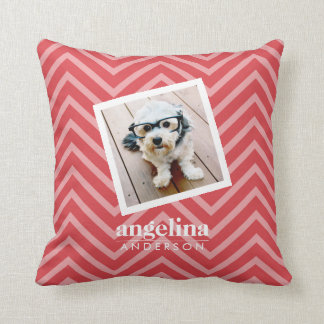 Photo with Red Chevron Pattern Custom Name Throw Pillow
