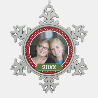 Photo with Red Polka Dot Pattern with Green Year Pewter Snowflake Decoration
