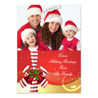 Photo Xmas Holiday Christmas Greetings Gold Red Card