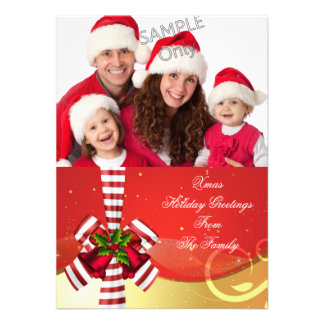 Photo Xmas Holiday Christmas Greetings Gold Red Invite