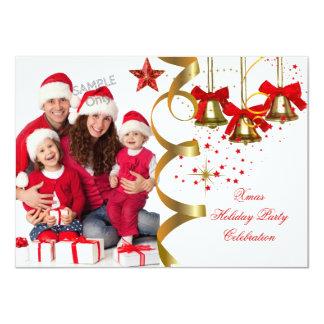 Photo Xmas Holiday Christmas Party Gold Red Black 11 Cm X 16 Cm Invitation Card