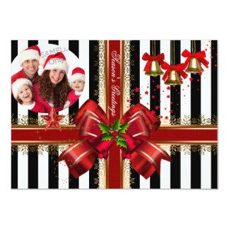 Photo Xmas Holiday Christmas Party Red Stripe 11 Cm X 16 Cm Invitation Card