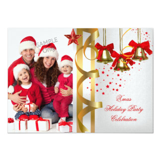 Photo Xmas Holiday Christmas Party White Gold Red 11 Cm X 16 Cm Invitation Card