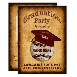 Photo, Your Text Baseball Graduation Invitation