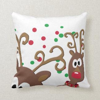 Photobomb Reindeer Decorative Christmas Pillow