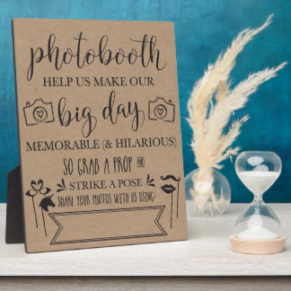 Photobooth Hashtag Wedding Party Sign Plaque