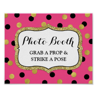 Photobooth Wedding Sign Pink Black Gold Confetti Poster