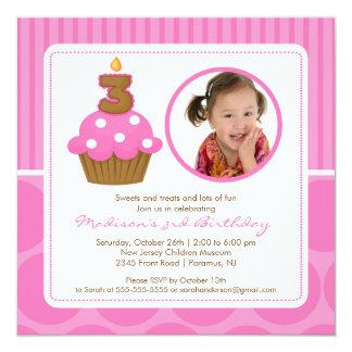 "PhotoCupcake Birthday Invitation 3rd Birthday Pink 5.25"" Square Invitation Card"