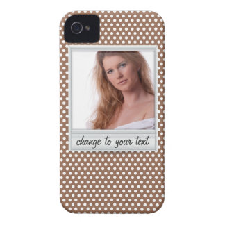 photoframe on white & brown polkadot Case-Mate iPhone 4 case