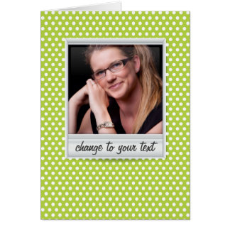 photoframe on white & lime polkadot card