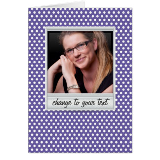 photoframe on white & purple polkadot card