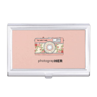 PhotograHER Vintage Camera with Pink & Red Roses Business Card Holder