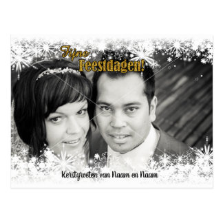 Photograph Christmas card - snow and goudkleurige