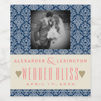 Photograph Elegant Damask Navy Blue Coral Wedding Wine Label