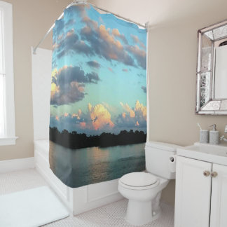 Photograph from the Mississippi River at Sunset Shower Curtain