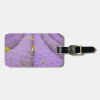 Photograph of a girl walking in a lavender field, luggage tag