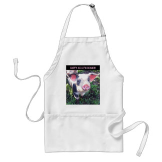 """Photograph of a pig """"Happy as a pig in mud!"""" Standard Apron"""