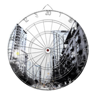 photograph of city the night dartboard
