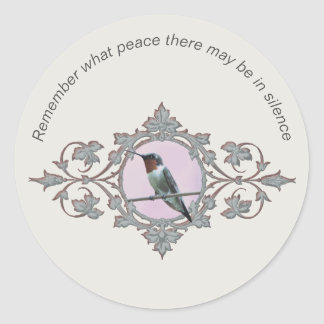 "Photograph of Hummingbird ""Peace in Silence"" Classic Round Sticker"