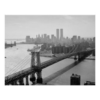 Photograph of NYC and The Williamsburg Bridge Poster