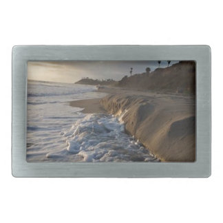 Photograph of the waves hitting the sand rectangular belt buckles