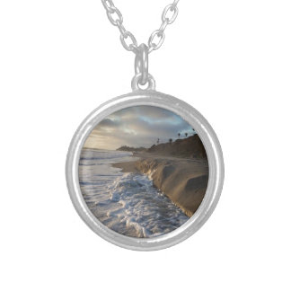 Photograph of the waves hitting the sand silver plated necklace