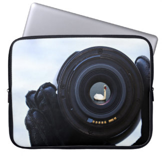Photographer and swan laptop sleeve