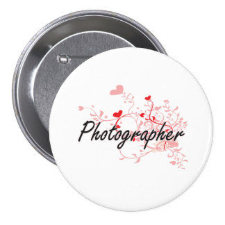 Photographer Artistic Job Design with Hearts 7.5 Cm Round Badge