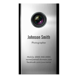 Photographer - Camera Lens in Silver Metallic Look Double-Sided Standard Business Cards (Pack Of 100)