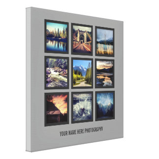 Photographer Display 9 Square Photos Grid Gallery Wrap Canvas