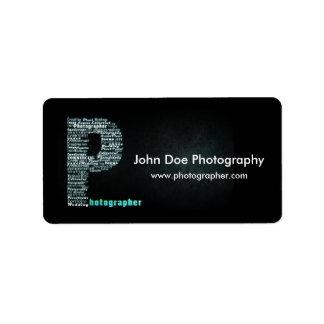 Photographer logo Business label sheet 1 Address Label