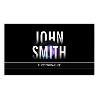 Photographer Modern Bold Text & Camera Lens Pack Of Standard Business Cards