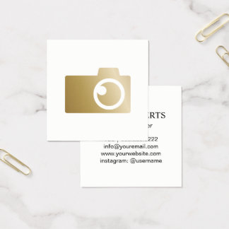 Photographer Modern Gold Camera Logo Photography Square Business Card