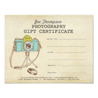 Photographer Photography Gift Certificate Template 11 Cm X 14 Cm Invitation Card