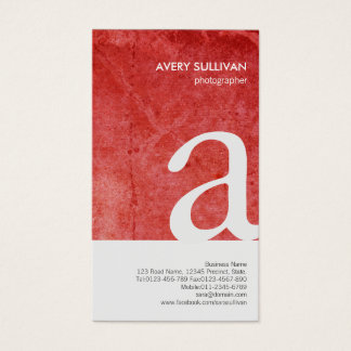 Photographer Red Grunge Monogram Business Card