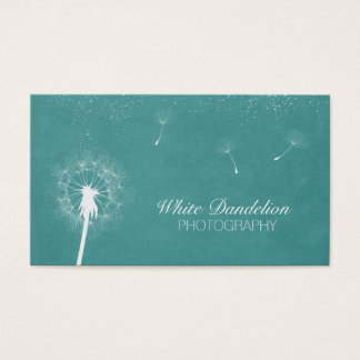 Photographer Stylish Teal Dandelion Photography Business Card