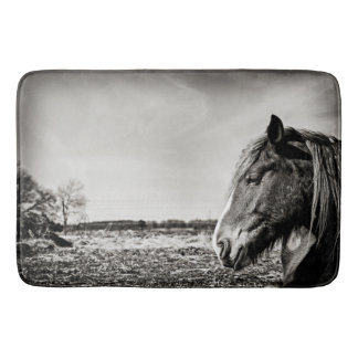 Photographic Black & White Horse Portrait Bath Mat