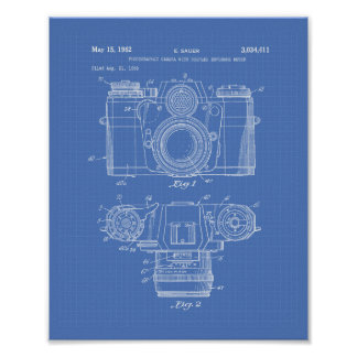 Photographic Camera 1959 Patent Art - Blueprint Poster