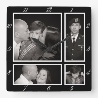 Photographic Collage Four Modern Family Decor Clocks