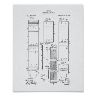 Photographic Roll Film 1915 Patent Art White Paper Poster
