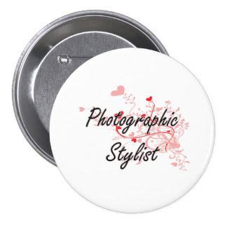 Photographic Stylist Artistic Job Design with Hear 7.5 Cm Round Badge