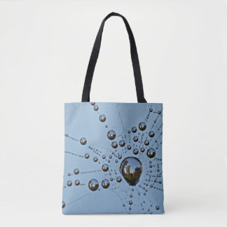 Photography Art Dewy Spider Web Tote Bag