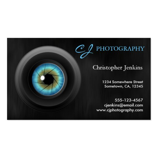 Photography Blue Eye Camera Lens Business Cards Business Card Template