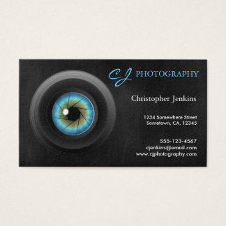 Photography Blue Eye Camera Lens Business Cards