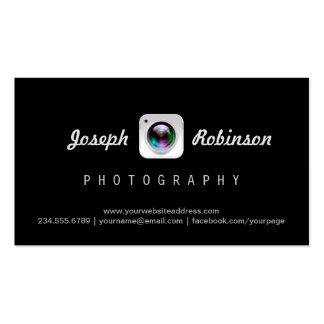 Photography Camera Lens Logo Modern Black Stylish Pack Of Standard Business Cards