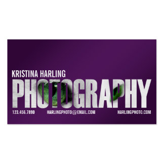 Photography Cutout - Purple Business Card Template