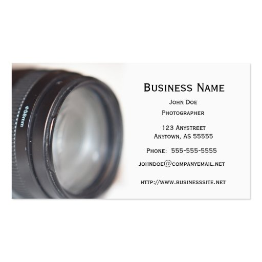 Photography Lens Business Card Template